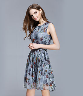 Clothing - Crepe silk crinkle Floral printed dress