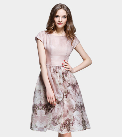 Floral placement print silk organza midi dress - Dress