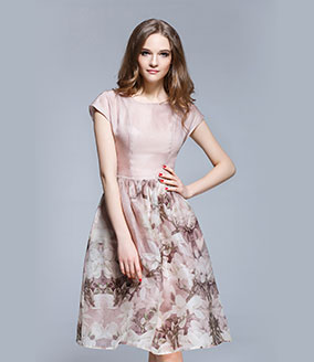 Clothing - Floral placement print silk organza midi dress