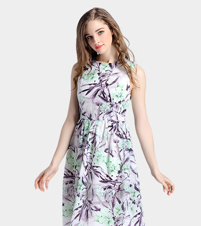 Floral printed organza dress - Clothing