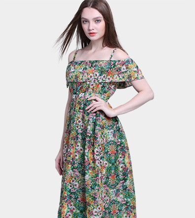 Floral printed silk linen dress - Clothing