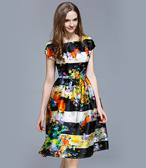Clothing - Floral printed silk organza midi dress