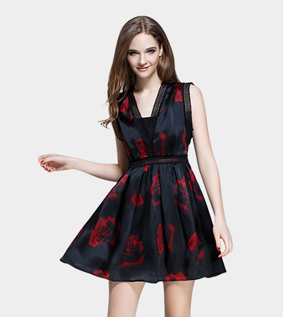 Rose printed organza cocktail dress - Clothing