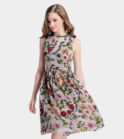 Rose printed organza dress - Clothing