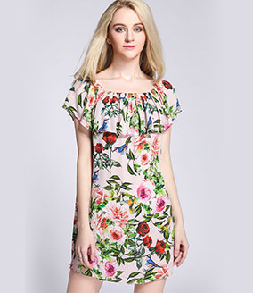 Clothing - Silk crepe de chine roses printed dress