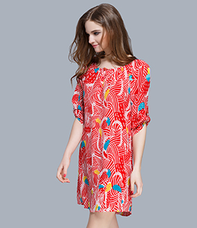 Dress - printed silk crepe de chine dress