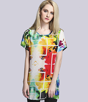 Tops - silk crepe de chine  printed t shirt