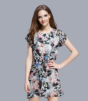 Dress - Floral printed organza dress
