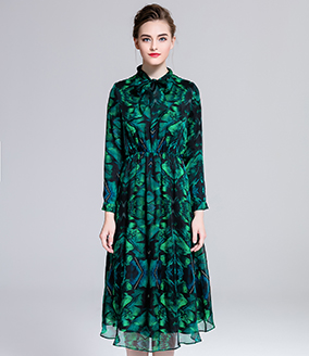 Dress - Printed silk chiffon long dress