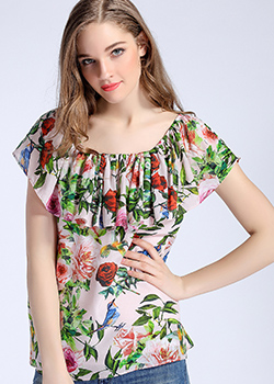 Tops - Rose printed silk crepe de chine top