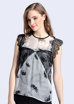 Tops - Printed lace silk chiffon top