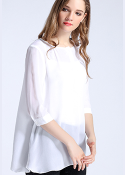 Tops - white simple round neck silk crepe de chine top