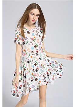 Dress - Printed loose fit silk dress