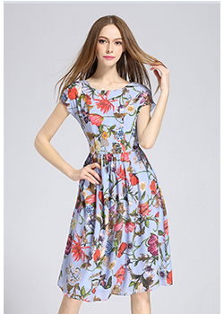 Dress - Printed Silk crepe de chine midi dress