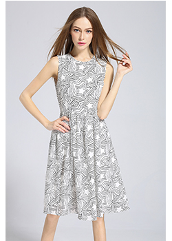 Dress - Star printed Silk crepe de chine dress