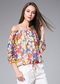 Tops - Flowers Printed silk georgette top