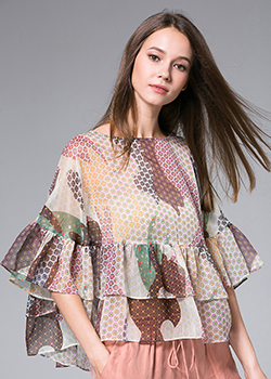 Tops - Flowers Printed silk organza  top