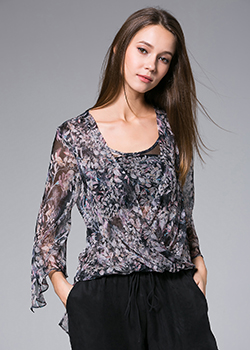 Tops - Flowers Printed silk crinkle top