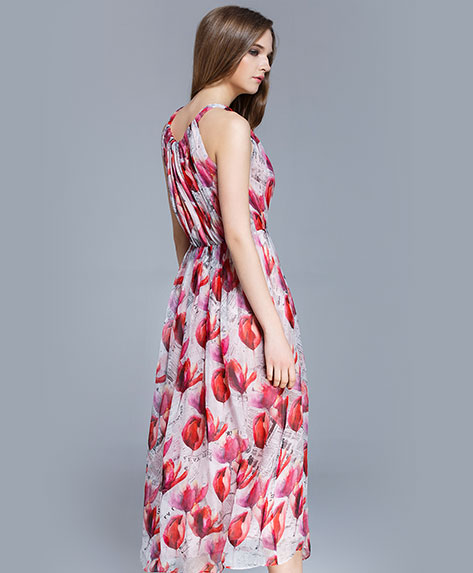 Clothing - Crepe silk crinkle Floral printed maxi dress