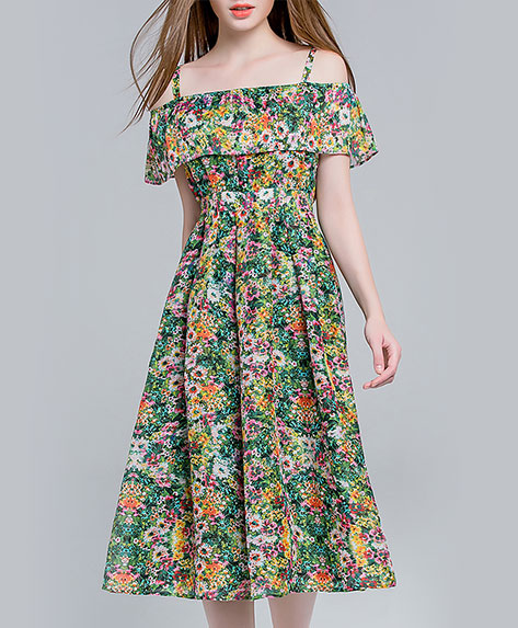 Clothing - Floral printed silk linen dress