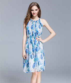 Dress - Crepe silk crinkle Floral printed  dress