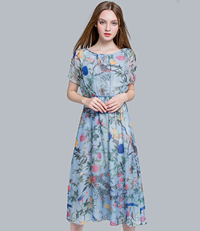 Dress - Floral printed silk chiffon maxi dress