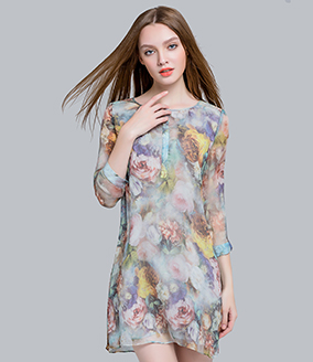 Dress - Floral printed Silk crepe crinkle dress