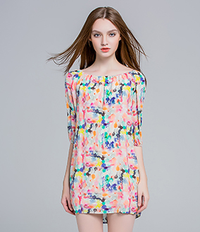 Dress - Water painting printed silk crep de chine dress