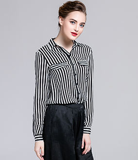 Tops - Stripe Silk crepe de chine shirt
