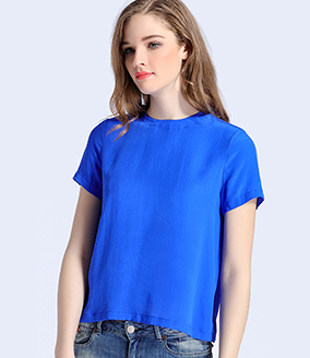 Tops - Blue simple silk crepe de chine top