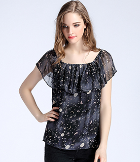 Tops - Space printed silk chiffon top