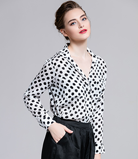 Tops - Silk crepe de chine dot shirt