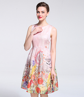 Dress - Printed silk organza midi dress