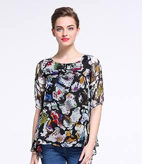 Tops - Printed silk chiffon top