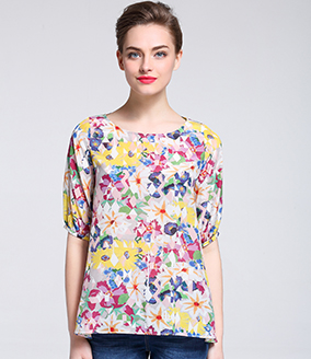 Tops - Printed silk  crepe de chine top