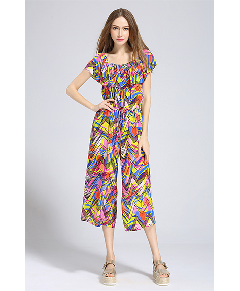 Dress - Printed Silk crepe de chine Jumpsuit