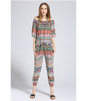 Dress - Ethnic printed silk crepe de chine jumpsuit