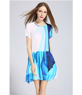 Dress - Ocean color printed loose fit silk dress