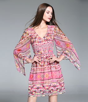 Dress - Printed Silk Dress