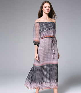 Dress - Off-the-shoulder Silk Chiffon Dress