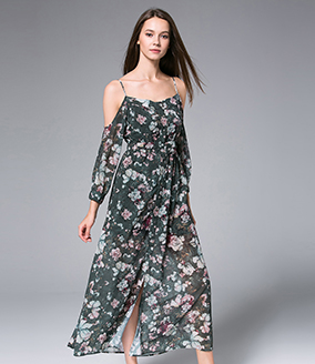 Dress -  Digital Roses Printed  silk chiffon maxi dress