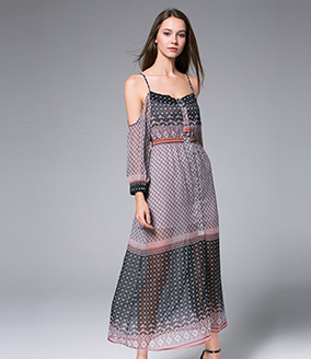 Dress -  Digital Printed  silk chiffon maxi dress