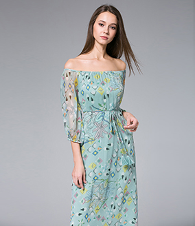 Dress - Floral-Print silk crinkle maxi dress