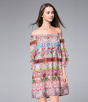 Dress - Printed off-the-shoulder silk crepe mini dress