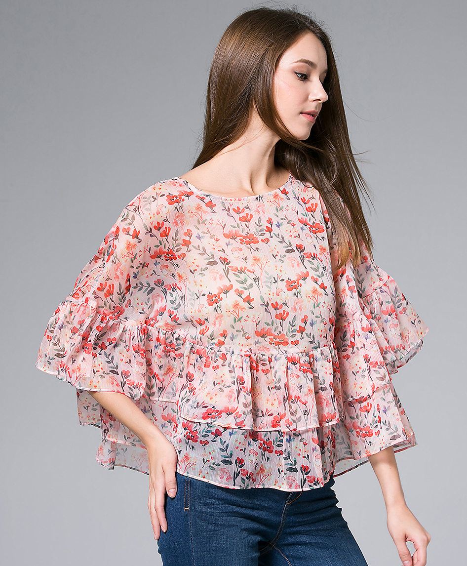 Tops - Flowers Printed silk Chiffon top