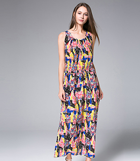Dress - Printed silk crepe  dress