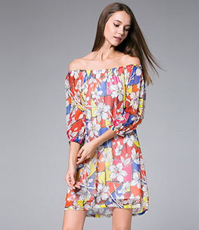 Dress - Flowers Printed silk georgette mini  dress