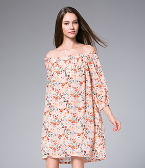 Dress - Flowers Printed silk crepe mini  dress