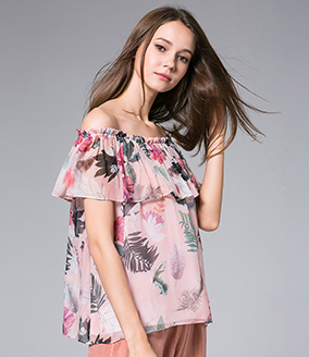 Tops - Flowers Printed silk crepe top