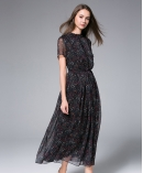 Black Printed Chiffon Maxi Dress